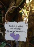 Cedulka ideální žena - 14x11cm-hnědo- bílá patina fial.srdce