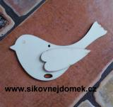 2D výřez ptáček s křidélkem- v.8,8x15cm