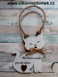 Cedulka kočka 13x10cm - Naši mazlíčci, hnědo-bílá pat.