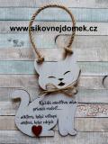 Cedulka kočka 19x15cm - Každá návštěva, hnědo-bílá pat.