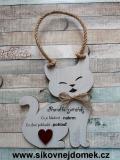 Cedulka kočka 19x15cm - Pravidla zvířátek, hnědo-bílá pat.