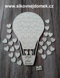 Svatební balón nevěsta+ženich- 26 srdíček - 34x21cm