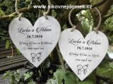 Svatební srdce dekor 18x18cm postavičky nevěsta+ženich - hnědo-bílá patina-CENA ZA KS.