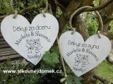 Svatební srdce dekor 18x18cm-Navěky - hnědo-bílá patina-CENA ZA KS.