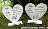 Svatební srdce na podložce 18x18cm-hnědo-bílá patina-cena za ks
