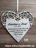 Svatební srdce dekor vyřezávané 23x23cm-cena za ks