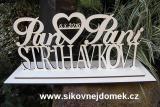 Svatební nápis jmena a příjmení na podložce