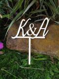 Zápich do dortu s iniciály snoubenců - zakázková výroba
