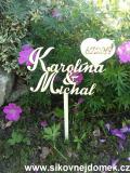 Zápich svatební jména+srdce datum svatby-zakázková výroba