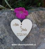 Svatební srdíčko se jmény a datem svatby-zakázková výroba