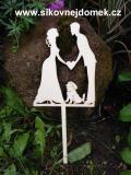 Zápich svatební nevěsta,ženich, retrívr-síla mat.0,4cm