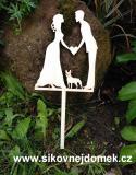 Zápich svatební nevěsta,ženich,buldoček-síla mat.0,4cm