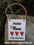 Cedulka Hotel Mama červ.srdíčka 14x11cm