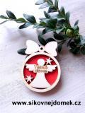 Vánoční ozdoba koule v.6,7x5cm, anděl Veselé Vánoce - červená