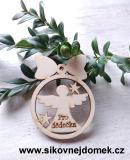 Vánoční ozdoba koule v.6,7x5cm, anděl pro dědečka