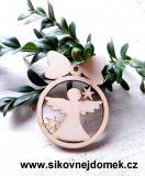 Vánoční ozdoba koule v.6,7x5cm, anděl čistý č.1