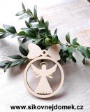 Vánoční ozdoba koule v.6,7x5cm, anděl čistý č.3