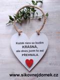 Cedulka Každé ráno - 14x14cm, hnědo-bílá patina,červené srdce