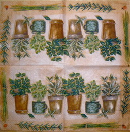 BY 010 - ubrousek 33x33 - květníky na hnědém - zvětšit obrázek