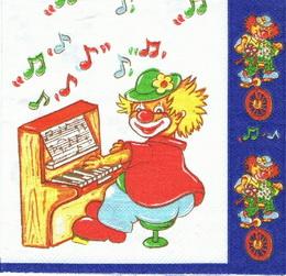 DE 114 - ubrousek 33x33 - klaun u piana - zvětšit obrázek