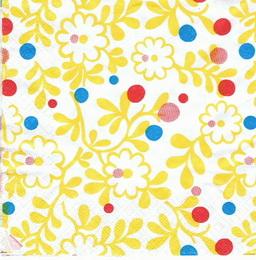 KV 103 - ubrousek 33x33 - žluté květinky s puntíky - zvětšit obrázek