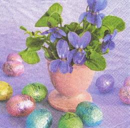 KV 110 - ubrousek 33x33 - fialky + vajíčka - zvětšit obrázek