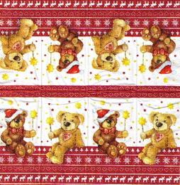 PK 028 - kapesníček 21x21 - vánoční medvídek - zvětšit obrázek