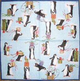 VM 018 Ihr - ubrousek na decoupage 333x33 - tučňáci na modrém - zvětšit obrázek