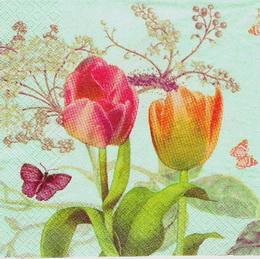 KV 210 - ubrousek na decoupage  33x33 - tulipán+motýlci - zvětšit obrázek