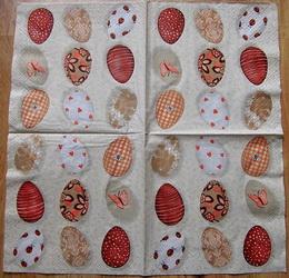 VEL 003 - ubrousek 33x33 - vejce na hnědém - zvětšit obrázek
