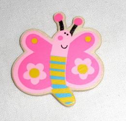 BP - motýl růžový dřevěný - zvětšit obrázek