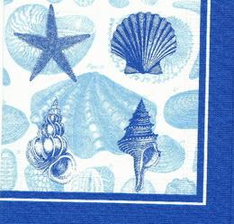 MO 067 PPD - ubrousek 33x33 - modré mušle - zvětšit obrázek