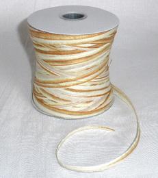 Papírová raffia 10 mm - hnědá světlá - bílá - zvětšit obrázek
