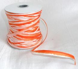 Papírová raffia 10 mm - oranžová - bílá - zvětšit obrázek