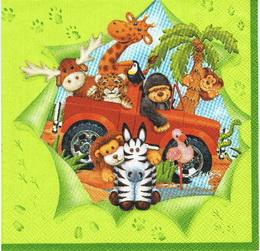DE 255- ubrousek 33x33 - zvířátka v autě - zvětšit obrázek