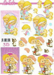 3D papír - holčička+chlapeček - zvětšit obrázek