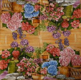 ZA 147-ubrousek 33x33-květiny+konvička - zvětšit obrázek