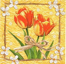 KV 074 - ubrousek 33x33 - tulipán na oranž - zvětšit obrázek