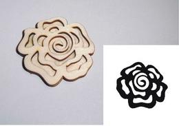 Razítko překližka růže květ -v.6x6,6cm - zvětšit obrázek