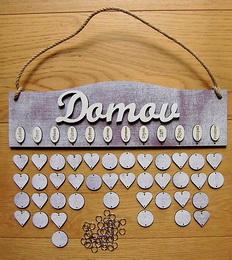 Rodinný kalendář dekor levandule-bílá s nápisem Domov - zvětšit obrázek