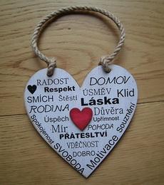 Cedulka Srdce Radost,Domov vel. 14x14cm, červené srdce - zvětšit obrázek