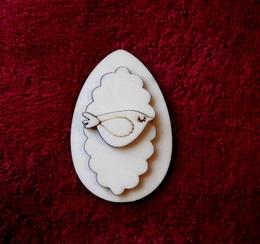 3D zápich na špejli vejce+ptáček spící-3ks - zvětšit obrázek