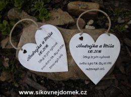 Svatební srdce dekor 18x18cm- hnědo-bílá patina-CENA ZA KS. - zvětšit obrázek