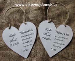 Svatební srdce dekor 18x18cm Milá maminko.. - hnědo-bílá patina-CENA ZA KS. - zvětšit obrázek