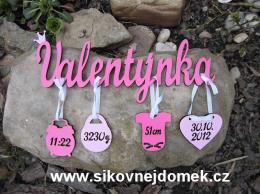 Jméno Valentýnka+narození -dekor - zvětšit obrázek