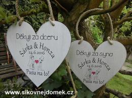 Svatební srdce dekor 20x20cm Pusu.. bar.obr.- hnědo-bílá patina-CENA ZA KS. - zvětšit obrázek