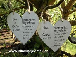 Svatební srdce dekor 20x20cm Milá maminko,Milý tatínku-CENA ZA KS - zvětšit obrázek