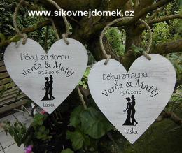 Svatební srdce dekor 18x18cm obr.nevěsta+ženich - hnědo-bílá patina-CENA ZA KS. - zvětšit obrázek