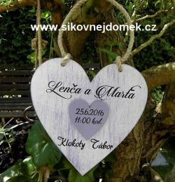 Svatební srdce pro novomanžele 18x18cm fialovo-bílá patina - zvětšit obrázek
