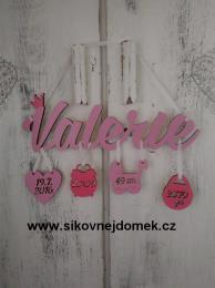 Jméno Valerie+narození -dekor - zvětšit obrázek